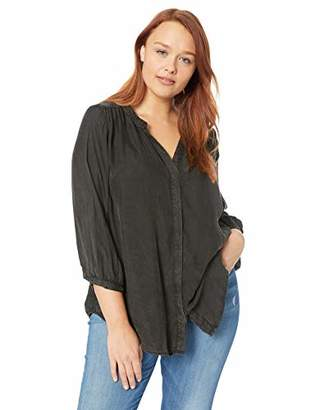 NYDJ Women's Plus Size Garment Dye Blouse with Studs