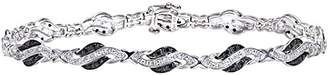Black Diamond Naava Women's 9 ct White Gold Crossover Link Bracelet
