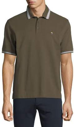 Z Zegna Pique Polo Shirt with Iconic Flag Logo