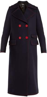 MSGM Double-breasted contrast-stitch wool-blend coat