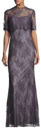 La Femme Short-Sleeve Floral Lace Popover Gown, Charcoal