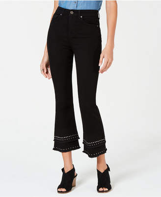 Style&Co. Style & Co Cotton Studded-Tiered Cropped Jeans, Created for Macy's