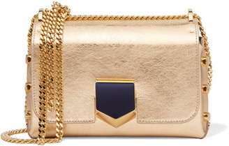Jimmy Choo - Lockett Small Metallic Textured-leather Shoulder Bag - Gold $1,450 thestylecure.com