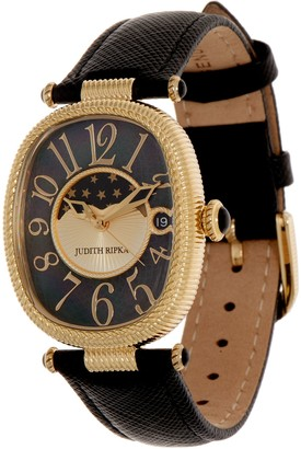 Judith Ripka Stainless Steel Leather Strap Moon Phase Watch