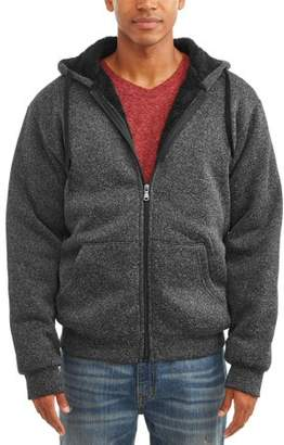 Generic Men's Sherpa Lined Marled Full Zip Hooded Jacket, Up to size 5XL