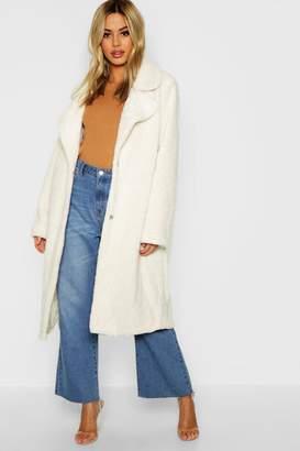 boohoo Petite Longline Teddy Faux Fur Coat