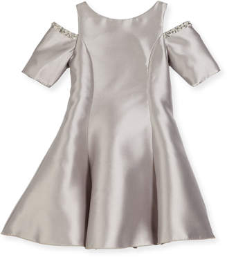 Neiman Marcus Zoe Emme Cold-Shoulder Fit-and-Flare Dress, Silver, Size 7-16