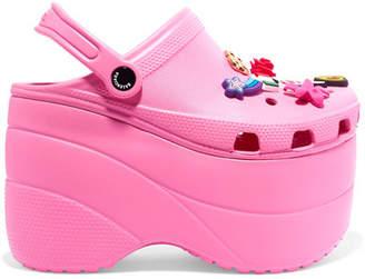 Balenciaga Crocs Embellished Rubber Platform Sandals - Pink