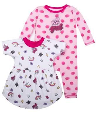 Little Star Organic Newborn Baby Girl Long Sleeve One Piece Romper & Dress, 2-pack