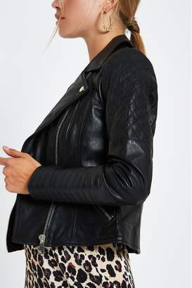 River Island Womens Leather Biker Jacket - Black