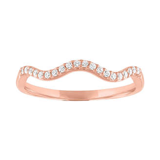 FINE JEWELRY Womens 1/10 CT. T.W. Genuine White Diamond 10K Rose Gold Stackable Ring