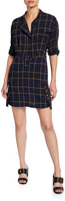 Derek Lam 10 Crosby Mandarin-Collar Plaid Shirt Dress