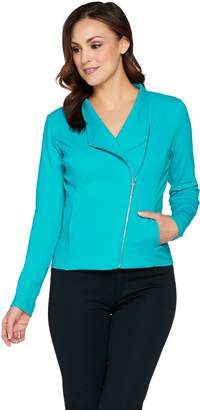 Halston H By H by French Terry Stand Collar Motorcycle Jacket