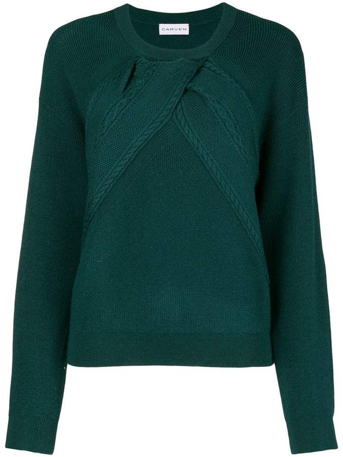 draped cable sweater