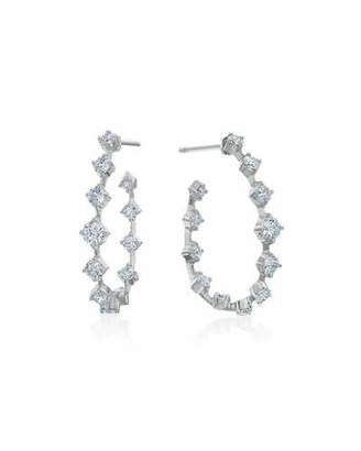 Maria Canale Small Pear-Shaped Wire Hoop Earrings with Diamonds