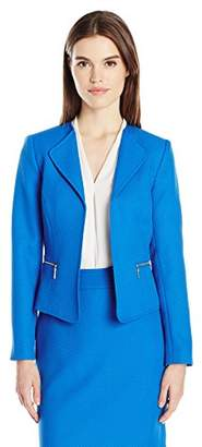 Tahari by Arthur S. Levine Women's Novelty Open Front Jacket with Zipper Pockets
