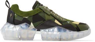 Jimmy Choo DIAMOND/M Army Mix Camo Print Nylon and Soft Leather Trainers with Chunky Platform