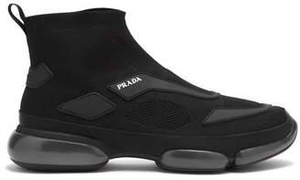 Prada Cloudbust High Top Knit Trainers - Mens - Black