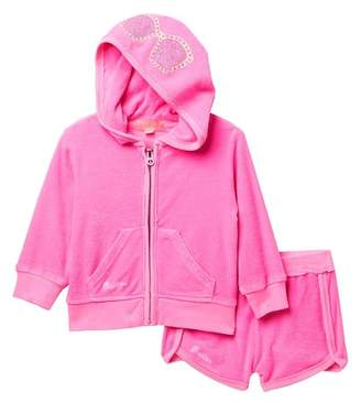 Butter Shoes Super Soft Terry Zip Hoodie & Shorts Set (Baby Girls)