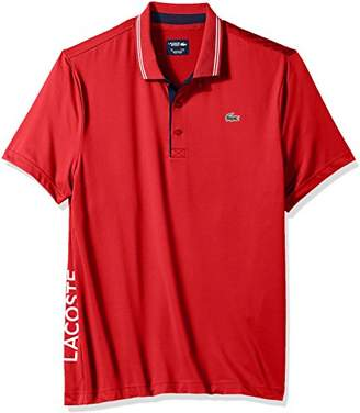 Lacoste Men's Short Sleeve Jersey with Jacquard Collar and Contrast Piping Polo