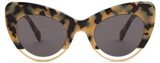 Sartorialeyes - Cat Eye Tortoiseshell Sunglasses - Womens - Black White