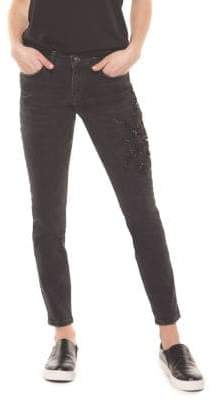 Dex Embroidered Five-Pocket Skinny Jeans