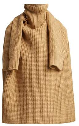 Raf Simons Sweater Inspired Wool Scarf - Womens - Camel