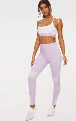PrettyLittleThing Lilac Contour Stripe Leggings