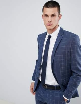 Selected Slim Suit Jacket In Blue Window Pane Check