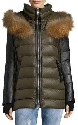 Nakiska Leather and Fur-Trimmed Zip-Front Coat