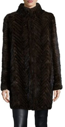 Belle Fare Herringbone-Pattern Mink Fur Coat $1,240 thestylecure.com