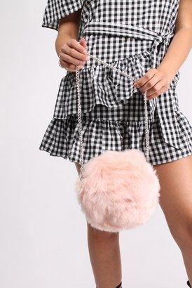 Rare Pink Faux Fur Circular Bag