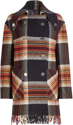 Calvin Klein Wool Coat with Fringe
