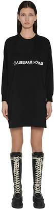 MM6 MAISON MARGIELA LOGO JERSEY PANEL WOOL JUMPER DRESS