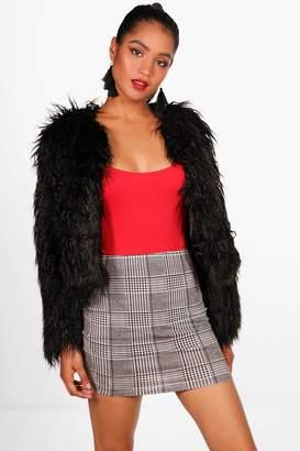 boohoo Violet Dogtooth Check Basic Jersey Mini Skirt