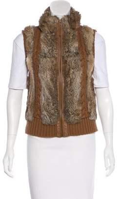 BCBGMAXAZRIA Fur-Accented Wool Vest