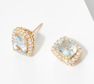 Elongated Cushion Cut Aquamarine Diamond Earrings, 14K