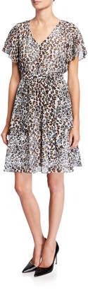 Neiman Marcus Animal-Print Chiffon Dress