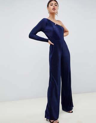Asos Design DESIGN one shoulder plisse jumpsuit