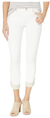 Liverpool Abby Crop Skinny Embroidered Scallop Hem Jeans in Bright White