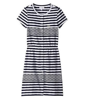 Lacoste Kids Feminine Capsule Jersey Striped Dress (Toddler/Little Kids/Big Kids)