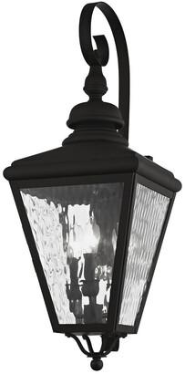 Cambridge Silversmiths Livex Lighting Livex 3-Light Black Outdoor Wall Lantern