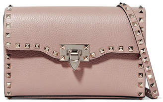 Valentino Garavani The Rockstud Small Textured-leather Shoulder Bag - Blush