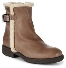 Aquatalia Faux Shearling Trim Leather Boots