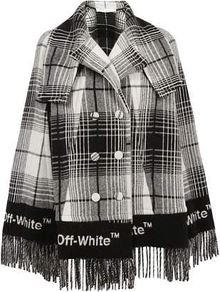 Off-White Off White Fringed Check Print Coat