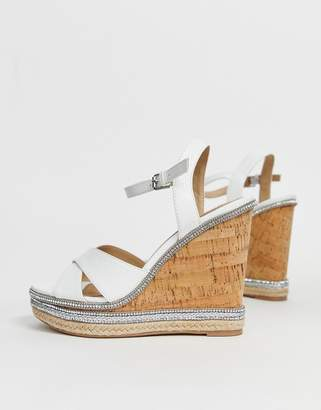 010a6e3a36f1 Head Over Heels By Dune Maissie white embellished cork high wedges