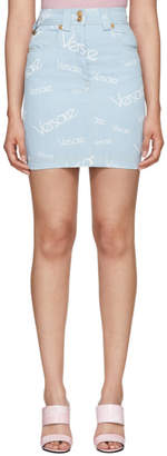 Versace Blue Logo Stamp High-Waisted Miniskirt