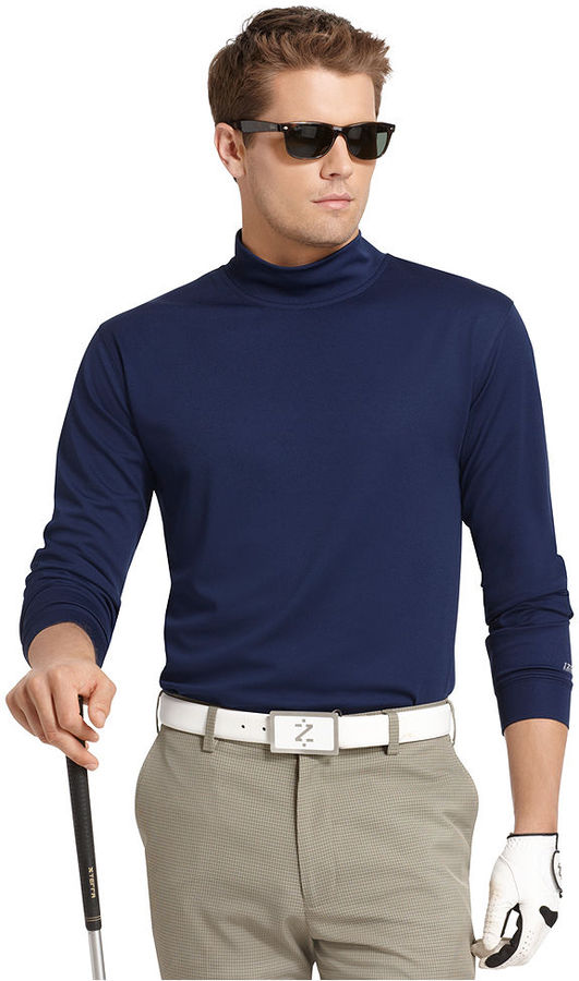 Izod golf shirts mock turtleneck moisture wicking golf for Big and tall mock turtleneck shirt