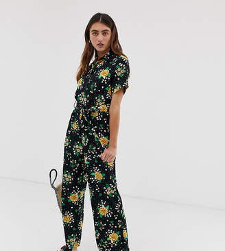 Monki floral print tie waist jumpsuit in black