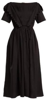 Horror Vacui Flabella Scalloped Trim Cotton Dress - Womens - Black